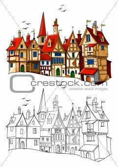 old european town vector illustration