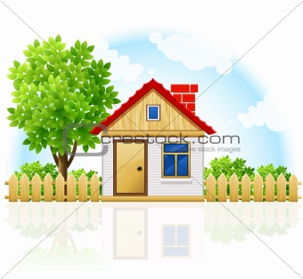 small private house with wooden drawning and tree