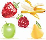 Vector fruits icon set
