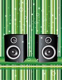 Speakers on green stripes
