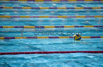 Waterpolo ball in swimming lanes