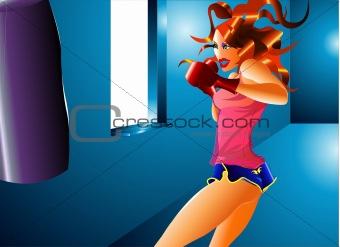 Fitness kick boxing girl