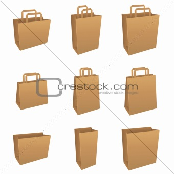 Set of brown product / shopping bags