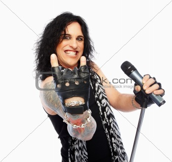 Rock band vocalist gesturing against a white background