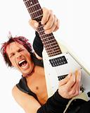Aggressive rockstar playing an electric guitar