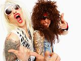 Two weird rock stars making funny faces over white background
