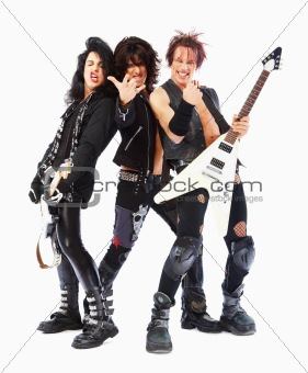 Young cool rock band holding guitar posing over white background