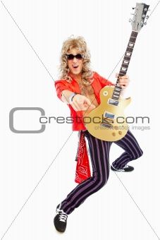 Energetic rockstar playing electric guitar
