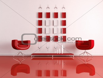 modern red and white interior