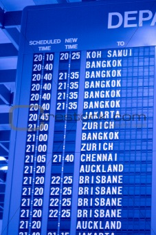 Depature schedule board in asian airport