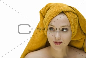 A girl in a towel