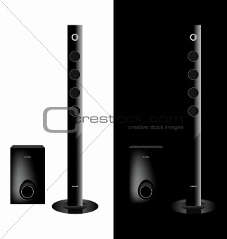 vector black acoustic sound system, loudspeaker
