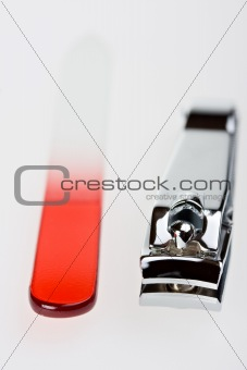 closeup of a nail clipper on white background