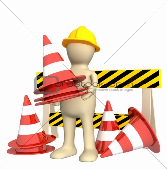 3d puppet with emergency cones
