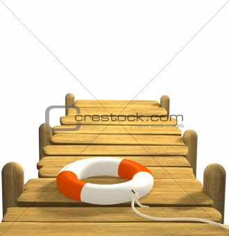 3d lifebuoy on a wooden pier