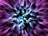 Exploding blue city on purple background