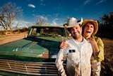 Couple with a Pickup Truck