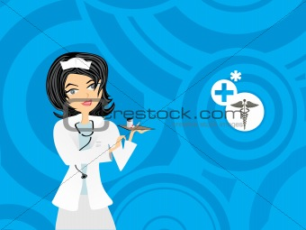 blue circle background with nurse