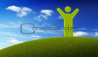 green symbol man standing on green Earth