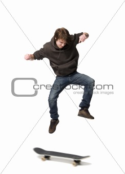 Boy jumping with skateboard