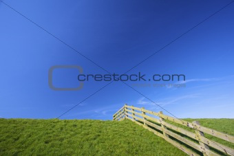 A fresh green meadow in summer with a fence and a blue sky