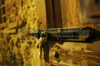 An old classic rusty door with a lock