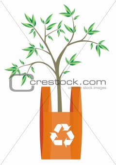Recycling symbool in an orange shopping bag.