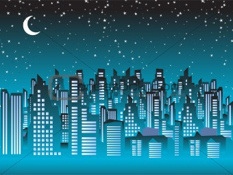Cityscape night, silhouettes of houses