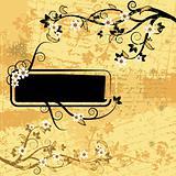 Grunge paper, floral frame