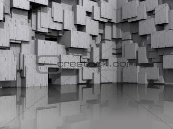 3D model with architectural concrete blocks