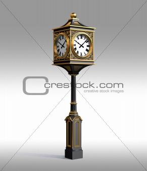 Classic bronze clock with workpath