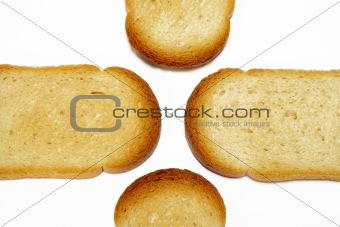 Slices of toasted  bread background
