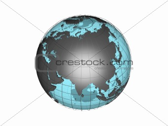 3D model of globe map showing the Asia