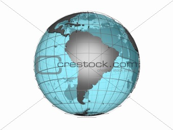 3D model of globe map showing South America