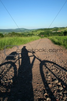 bicyclist's shadow