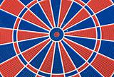 blue and red dart board
