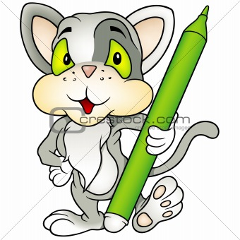 Gray kitten as painter