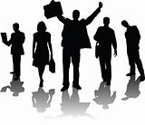 Five silhouettes business people