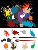These are colorful vector splats silhouette and two brush