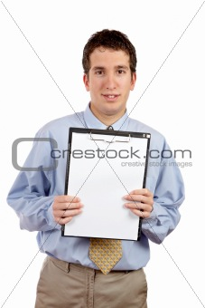 Smiling businessman showing a clipboard