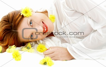 beauty with yellow flowers