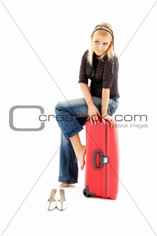 lovely blond with red suitcase