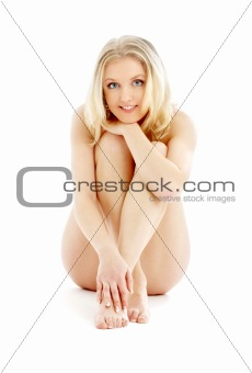 sitting naked blond
