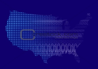 America Map with Digital Binary Code