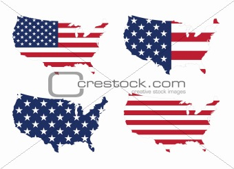 America / United States Flag And Map