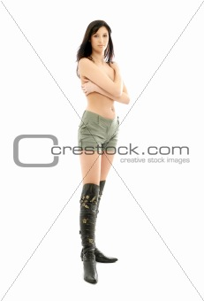 topless brunette in green shorts and boots