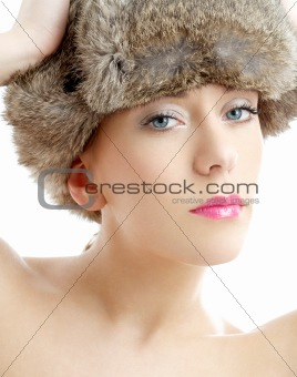 lovely beauty in winter hat