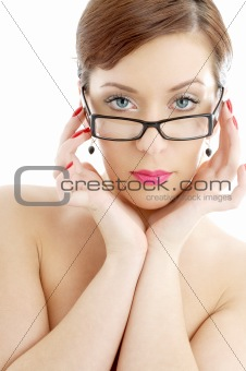 topless lady in black plastic eyeglasses