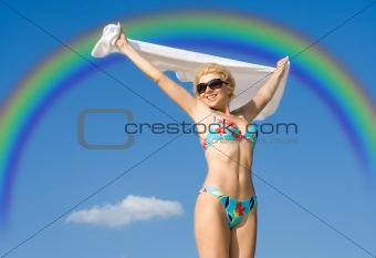 flight over rainbow