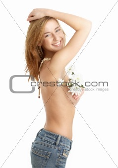 topless hippy girl with white flowers